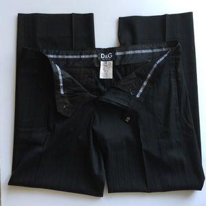 D&G Black Pinstripe Dress Slacks Dolce & Gabbana